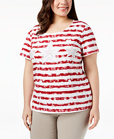 Karen Scott Plus Size Embellished Striped T-Shirt, Created for Macy's