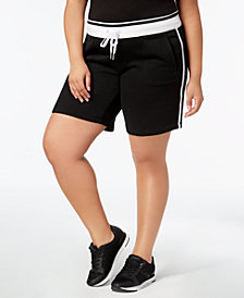 Calvin Klein Performance Plus Size Ribbed-Waistband Shorts