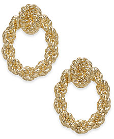 Charter Club Gold Tone Knotted Rope Doorknocker Drop Earrings Created For Macy S