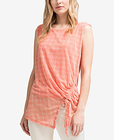 DKNY Printed Ruched Top