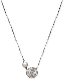 "Danori Pavé Disc and Imitation Pearl Pendant Necklace, 16"" + 1"" extender, Created for Macy's"