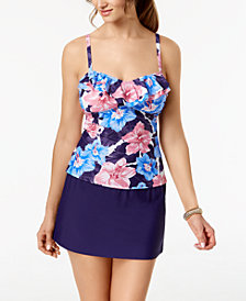 Island Escape Waikiki Paradise Tankini Top & High-Waist Swim Skirt, Created for Macy's