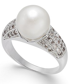 Silver-Tone Pavé & Imitation Pearl Ring, Created for Macy's