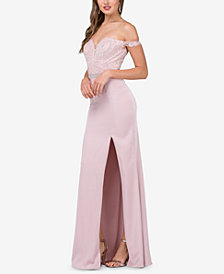 Dancing Queen Juniors' Embellished Lace Off-The-Shoulder Gown