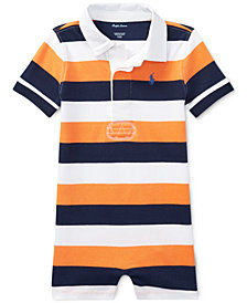 Ralph Lauren Striped Cotton Rugby Romper, Baby Boys