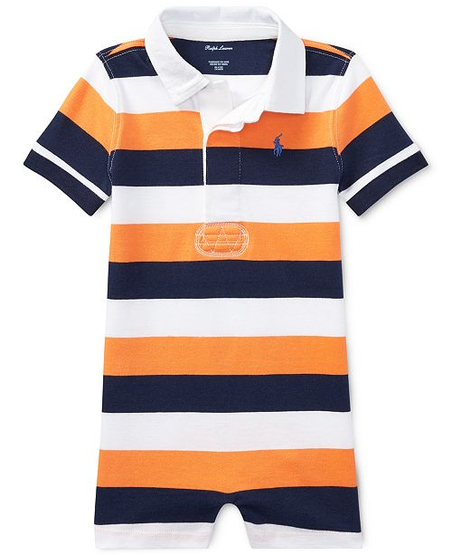 877641560 ... Polo Ralph Lauren Ralph Lauren Striped Cotton Rugby Romper, Baby Boys  ...