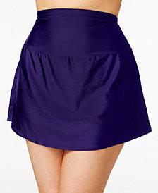 Island Escape Plus Size Tummy-Control Swim Skirt, Created for Macy's