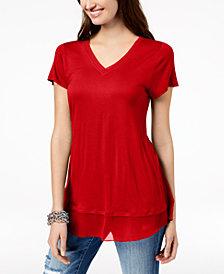 I.N.C. Petite Sheer-Hem Top, Created for Macy's