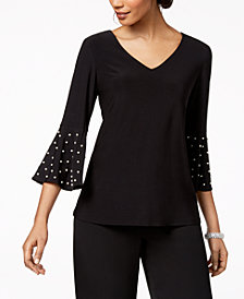 MSK Petite Embellished Bell-Sleeve Top