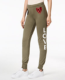 Love Moschino Peace Love Graphic-Print Jogger Pants
