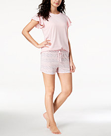 Ande Whisperluxe Flutter-Sleeve Top & Tassel Pajama Shorts
