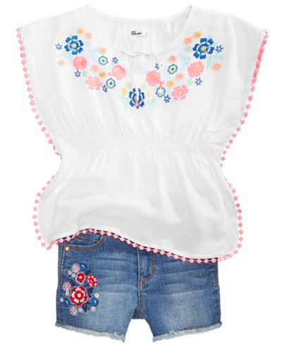 Epic Threads Little Girls Embroidered Caftan Top & Shorts, Created for Macy's