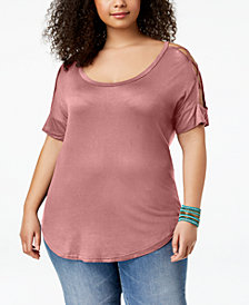 ABASIX Trendy Plus Size Crisscross-Sleeve T-Shirt