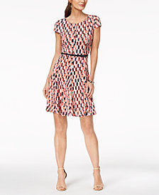 Jessica Howard Petite Belted Geo-Print Fit & Flare Dress