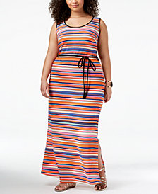 Fox & Royal Trendy Plus Size Striped Maxi Dress