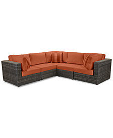 Viewport Outdoor 5-Pc. Modular Seating Set (3 Corner Units and 2 Armless Units) with Custom Sunbrella® Cushions, Created for Macy's