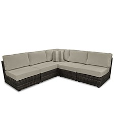 Viewport Outdoor 5-Pc. Modern Modular Seating Set (4 Armless Units and 1 Corner Unit) with Sunbrella® Cushions, Created for Macy's