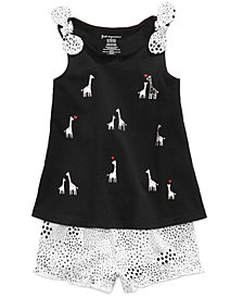 First Impressions Baby Girls Giraffe-Print Tunic & Printed Shorts Separates, Created for Macy's