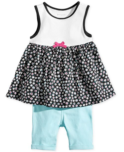 First Impressions Baby Girls Daisy-Print Tunic & Bermuda Shorts Separates, Created for Macy's