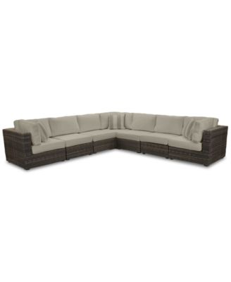 Viewport Outdoor 7-Pc. Modular Seating Set (3 Corner Units and 4 Armless Units), with Sunbrella® Cushions, Created for Macy's