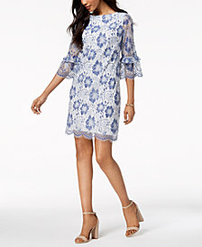 Jessica Howard Floral Lace Bell-Sleeve Dress, Regular & Petite