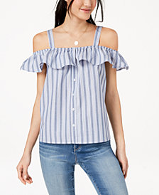 Ultra Flirt by Ikeddi Juniors' Striped Off-The-Shoulder Blouse
