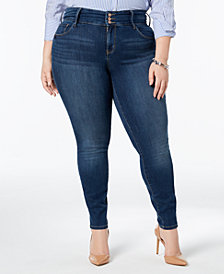 I.N.C. Plus Size Three-Button Skinny Jeans, Created for Macy's