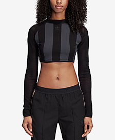 adidas Originals Mesh-Sleeve Cropped Top