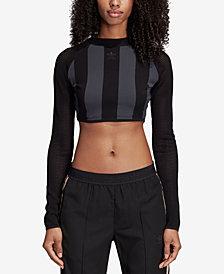 adidas Originals Mesh-Sleeve Cropped Top
