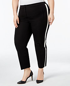 Alfani Plus Size Racer-Stripe Ankle Pants, Created for Macy's