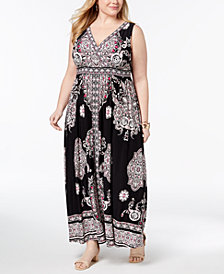 I.N.C. Plus Size Printed Surplice-Neck Maxi Dress, Created for Macy's