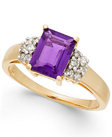 Amethyst (1-5/8 ct. t.w.) & Diamond (1/5 ct. t.w.) Ring in 14k Gold