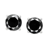 Black Diamond Stud Earrings (14k White Gold)