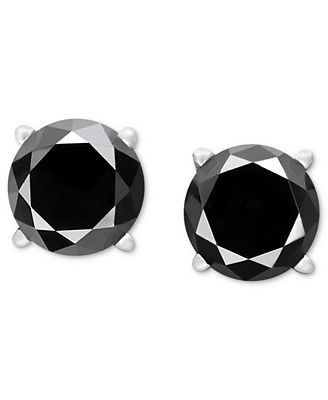 black diamond stud earrings in 14k white gold 1 1 2 ct t w