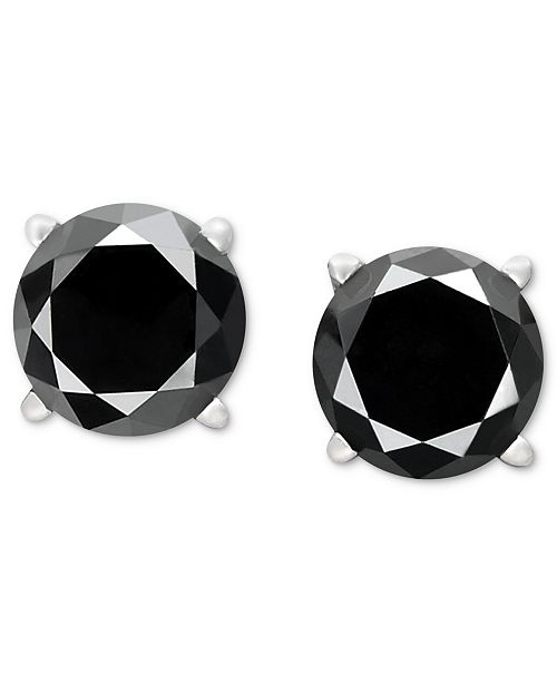 5b74cd10b Macy's Black Diamond Stud Earrings in 14k White Gold (1-1/2 ct. t.w. ...