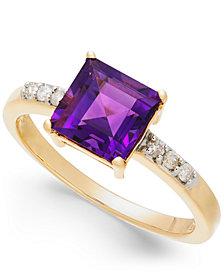 Amethyst (1-3/4 ct. t.w.) & Diamond (1/10 ct. t.w.) Ring in 14k Gold