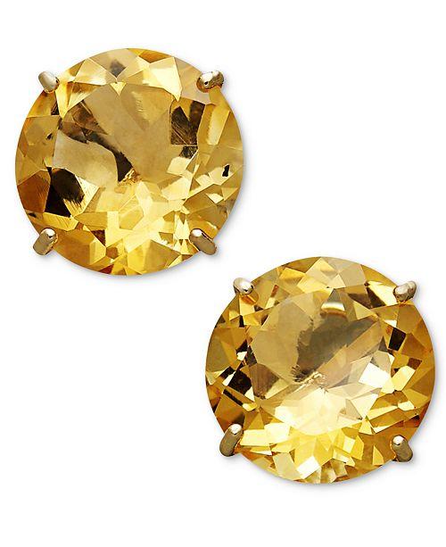 Macy S Citrine Stud Earrings In 14k Gold 1 Ct