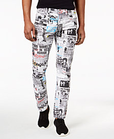 DOPE Men's Slim-Fit Newspaper Print Jeans