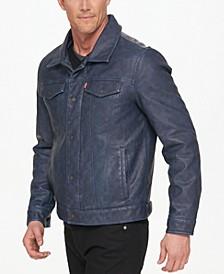 Men's Faux-Leather Trucker Jacket