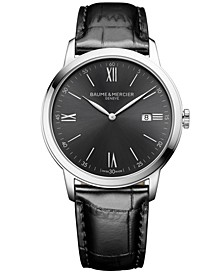 Men's Swiss Classima Black Leather Strap Watch 42mm