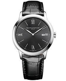 Baume & Mercier Men's Swiss Classima Black Leather Strap Watch 42mm