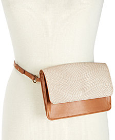I.N.C. Smooth & Python-Embossed Fanny Pack, Created for Macy's