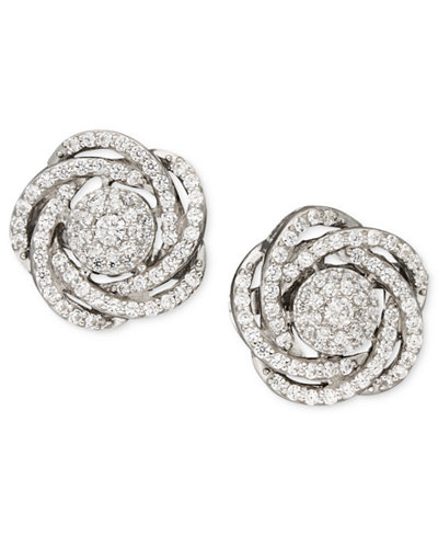 Wred In Love Diamond Earrings 14k White Gold Pave Knot 1