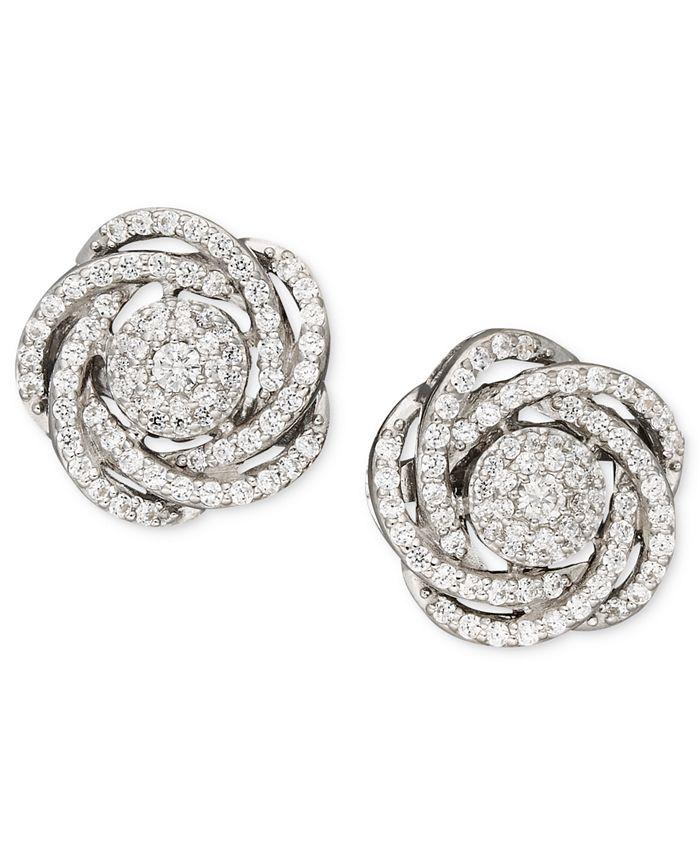 Wrapped in Love - Diamond Earrings, 14k White Gold Diamond Pave Knot Earrings (1 ct. t.w.)