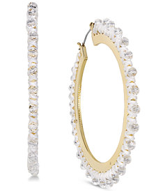 kate spade new york Gold-Tone Wrapped & Beaded Hoop Earrings