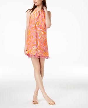 Trina Turk Silk Tassel-Trim Shift Dress 6248982