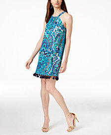 Trina Turk Silk Tassel-Trim Shift Dress