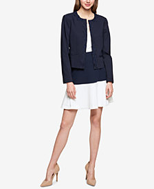 Tommy Hilfiger Lace-Trim Open-Front Jacket & Colorblocked Swing Skirt
