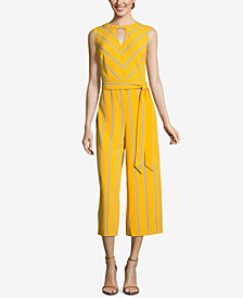 ECI Striped Tie-Belt Jumpsuit