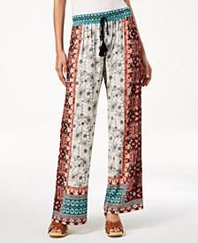 Be Bop Juniors' Patchwork-Print Wide-Leg Pants